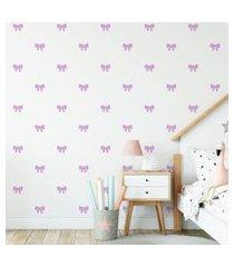 adesivo de parede de laços lilás 60un cobre 4m²
