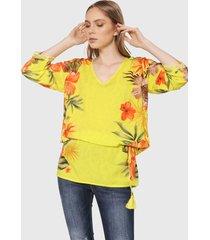 blusa amarillo-multicolor desigual