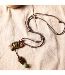 gioielli di stile etnico collana di perle di rame di ceramica di pesce d'epoca