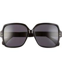women's alaia 56mm square sunglasses - black