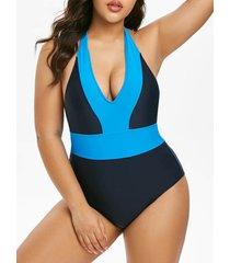 plus size halter colorblock backless one-piece swimsuit