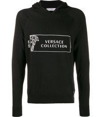 versace collection medusa head logo hoodie - black
