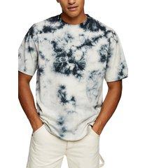 men's topman black & blue tie dye men's t-shirt, size x-small - black