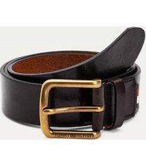 tommy hilfiger men's brass buckle leather belt tan - 34