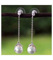 sterling silver dangle earrings, 'dolphin delight' (mexico)