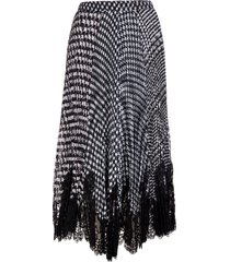 ermanno scervino pleated midi skirt with prince of wales pattern