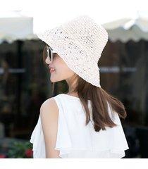 sombrero para mujer, hecho a mano paja ganchillo sra.-rosa