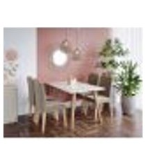 conjunto de mesa de jantar adele com tampo de vidro off white e 4 cadeiras estofadas paola suede joli e madeira