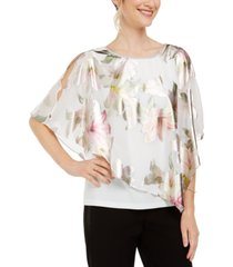 msk cross-back floral overlay top