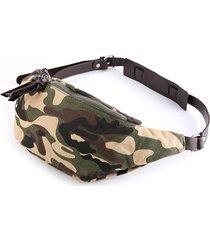 borsa a tracolla con tracolla in tela mimetica stile hiphop per uomo