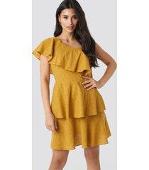 trendyol yol one shoulder dress - yellow