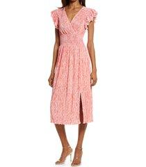 women's chelsea28 flutter sleeve plisse midi dress, size large - coral