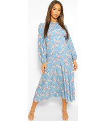 bird print long sleeve midi dress, blue