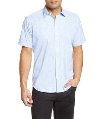 men's bugatchi classic fit short sleeve button-up performance shirt