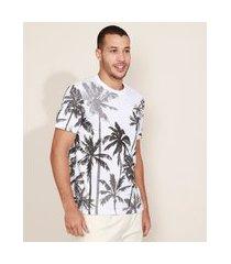 camiseta masculina estampada de coqueiros manga curta gola careca branca