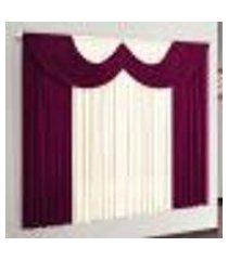 cortina para sala de estar riviera vinho 170x200 cm