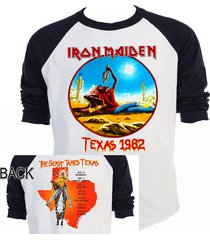 "iron maiden""the beast tames texas"" 82 raglan baseball sizes s-3xl,t-shirt, t-558"