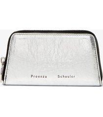 proenza schouler trapeze zip compact wallet silver/grey one size