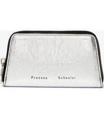 proenza schouler trapeze zip compact wallet silver/grey one size