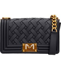 marc ellis flat s braid shoulder bag in black pvc