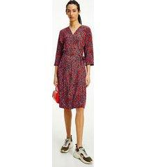 tommy hilfiger women's floral print wrap dress camo floral / daring scarlet - 4