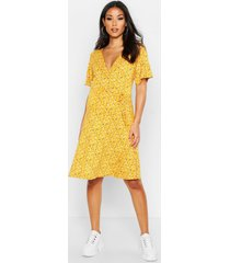 maternity ditsy floral wrap dress, mustard