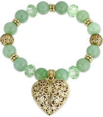 2028 semi-precious aventurine filigree puff heart stretch bracelet