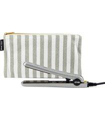 eva nyc women's mini healthy heat ceramic iron & pouch set - grey stripe