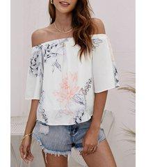 blusa de gasa elástica con hombros descubiertos y estampado floral al azar en blanco