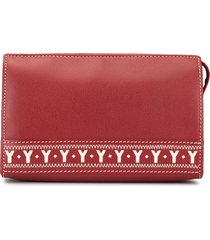 yves saint laurent pre-owned logo cutout cosmetic pouch - red