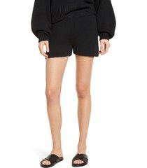 askk ny freeport shaker stitch cotton & silk shorts, size 2 in black at nordstrom