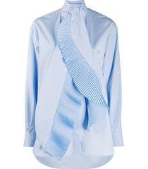 givenchy pleated scarf-collar shirt - blue