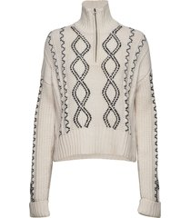 susa cable knits zip neck jmpr stickad tröja creme french connection