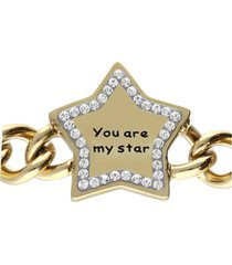 bracciale a maglie larghe in acciaio dorato you are my star con strass per donna