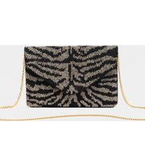 lailah tiger stripe beaded clutch - black