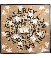 women's burberry floral check logo silk scarf, size one size - beige