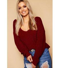 plus oversized v neck sweater, burgundy