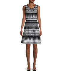 ted baker london women's printed knitted style dress - black - size 5 (12)