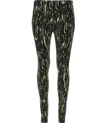 leggings rayas abstractas color verde, talla xs