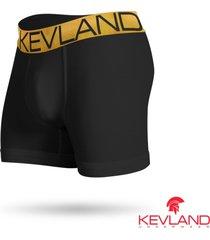 cueca boxer kevland microfibra preta elástico dourado preto