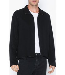 l'homme rouge zip-up overshirt skjortor black