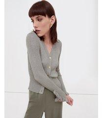 motivi cardigan in maglia a coste donna verde