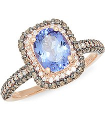 14k rose gold, tanzanite, white & espresso diamond ring