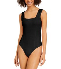 planet gold juniors' lace-trim bodysuit