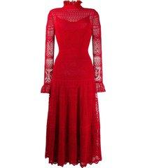 alexander mcqueen crocheted lace high neck dress - red