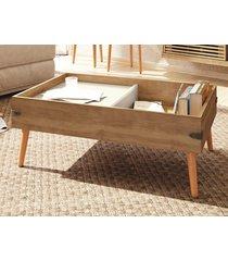 mesa de centro pe natural iron buriti/off-white - líder design