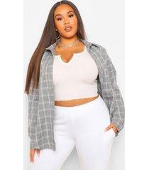 plus washed grid flannel boyfriend oversized shirt, grey