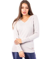 blusa tricot carlan basic tradicional decote v cinza