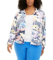 alfred dunner plus size classics floral-print zip-up jacket