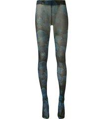 richard quinn floral-print sheer tights - blue